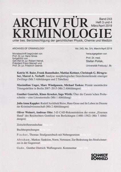 Archiv für Kriminologie Band 243 Heft 3 und 4 März/April 2019