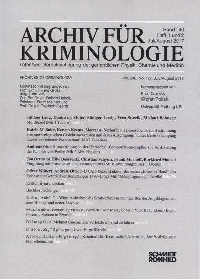 Archiv für Kriminologie Band 240 Heft 1 und 2 Juli/August 2017