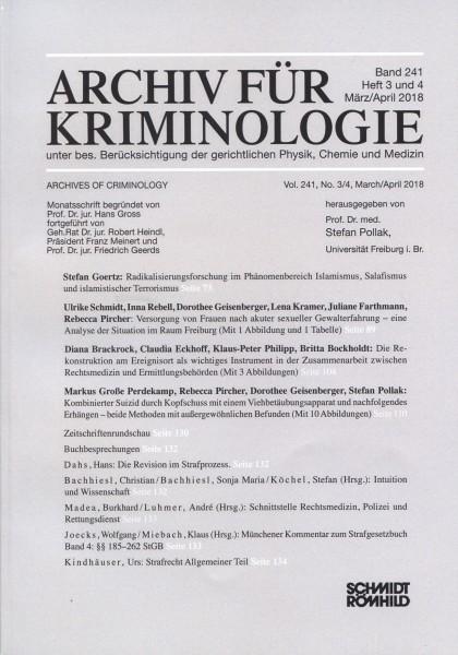 Archiv für Kriminologie Band 241 Heft 3 und 4 März/April 2018