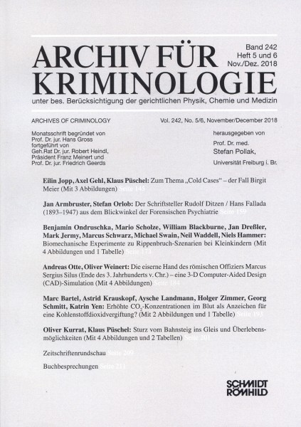 Archiv für Kriminologie Band 242 Heft 5 und 6 Nov./Dez 2018