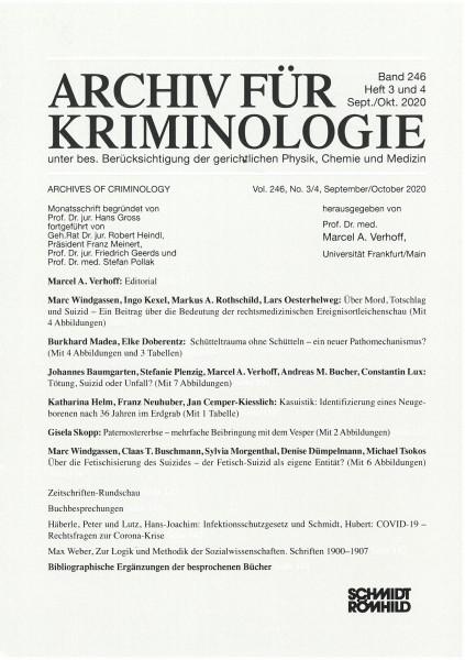 Archiv für Kriminologie Band 246 Heft 3 und 4 Sept./Okt. 2020