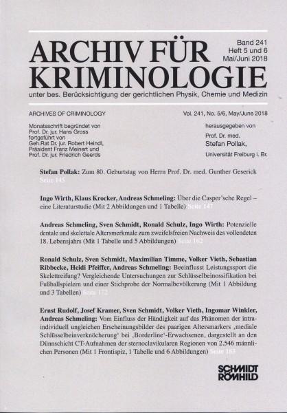Archiv für Kriminologie Band 241 Heft 5 und 6 Mai/Juni 2018
