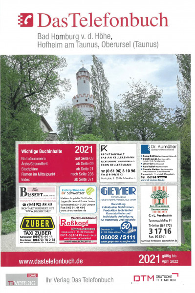 Das Telefonbuch Bad Homburg v.d. Höhe, Hofheim am Tanus, Oberursel (Ts.) 2021
