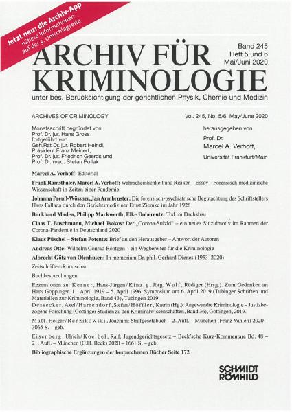Archiv für Kriminologie Band 245 Heft 5 und 6 Mai/Juni 2020