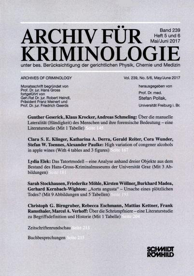Archiv für Kriminologie Band 239 Heft 5 und 6 Mai/Juni 2017