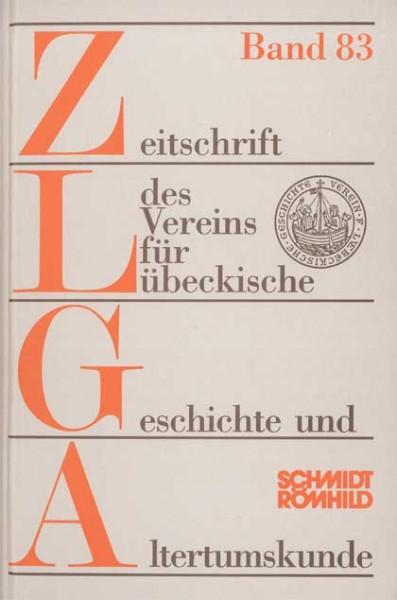 Zeitschrift des Vereins für Lübeckische Geschichte und Altertumskunde Band 78 (1998) bis Band 83 (20