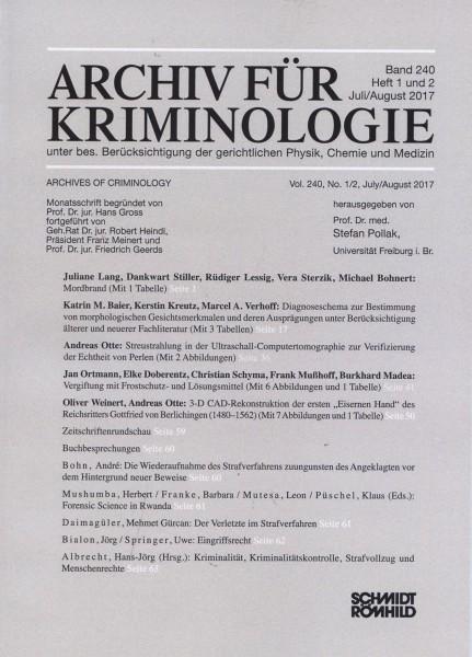 Einzelheft: Archiv für Kriminologie