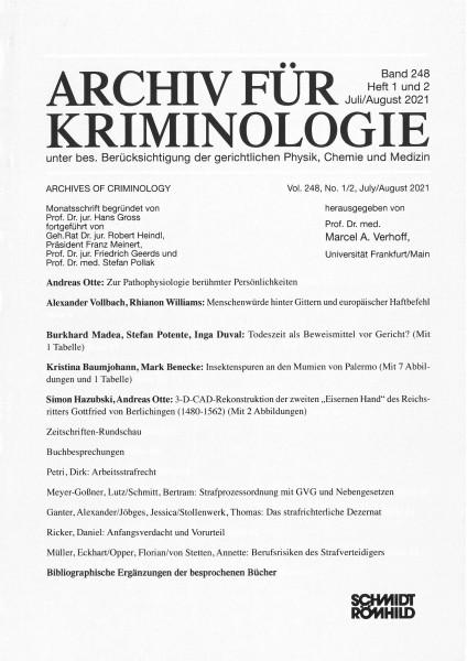 Archiv für Kriminologie Band 248 Heft 1 und 2 Juli/August 2021