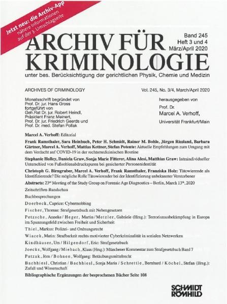 Archiv für Kriminologie Heft 3 und 4 März/April 2020