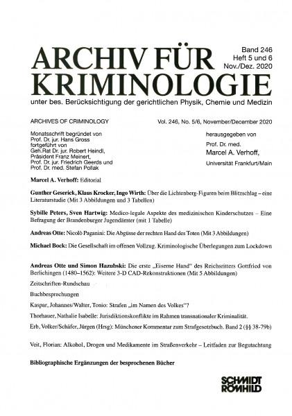 Archiv für Kriminologie Band 246 Heft 5 und 6 Nov./Dez. 2020