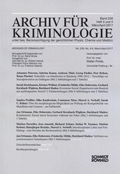Archiv für Kriminologie Band 239 Heft 3 und 4 März/April 2017
