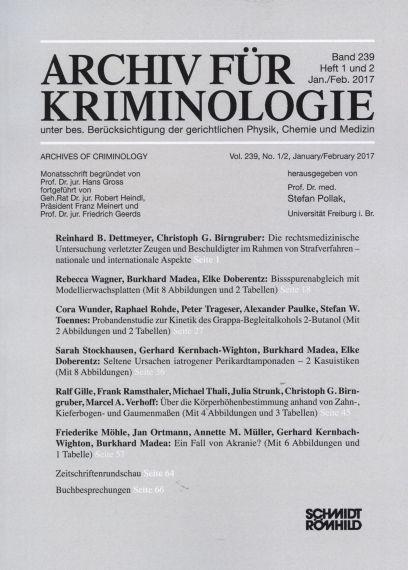 Archiv für Kriminologie Band 239 Heft 1 und 2 Jan./Feb. 2017