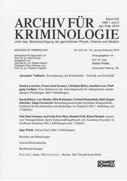 Archiv für Kriminologie Band 243 Heft 1 und 2 Jan./Feb. 2019
