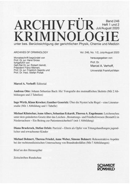 Archiv für Kriminologie Band 246 Heft 1 und 2 Juli/August 2020