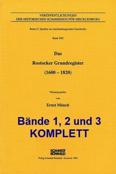 Das Rostocker Grundregister (1600-1820) - Bände 1, 2 und 3 KOMPLETT