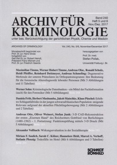 Archiv für Kriminologie Band 240 Heft 5 und 6 Nov./Dez. 2017