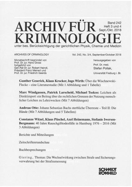 Archiv für Kriminologie Band 242 Heft 3 und 4 Sept./Okt. 2018
